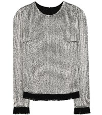 Tom Ford Embellished Silk Top Silver