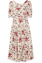 Loveshackfancy Lenny Floral Print Cotton Voile Maxi Dress Cream