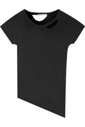 Yummie Tummie By Heather Thomson Asymmetric Cutout Pima Cotton Jersey T Shirt Black