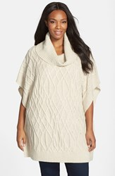 Plus Size Women's Caslon Cowl Neck Cable Knit Sweater Cape