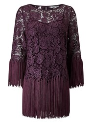 Jacques Vert Tassle Lace Top Dark Purple