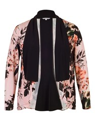 Chesca Rose Print Black Collar Shrug Apricot