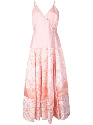 Rosie Assoulin Damask Wrap Front Midi Dress Pink