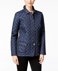 Charter Club Dot Print Quilted Jacket Only At Macy's Intrepid Blue Combo