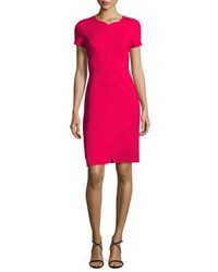 J. Mendel Cap Sleeve Crepe Sheath Dress Pink