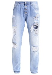 Replay Pilar Relaxed Fit Jeans Destroyed Denim Blue Denim