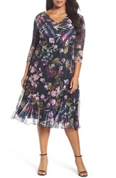 Komarov Plus Size Women's Print Chiffon A Line Midi Dress
