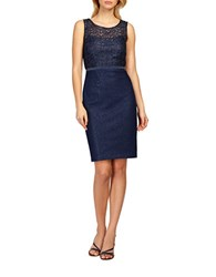 Kay Unger Metallic Lace Bodice Tweed Sheath Dress Navy