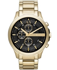 Ax Armani Exchange Men's Gold Tone Stainless Steel Bracelet Watch 46Mm Ax2137