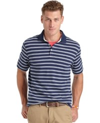 Izod Short Sleeve Interlock Feeder Stripe Polo