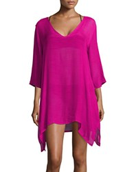 J Valdi Textured Asymmetrical Cover Up Tunic Pink