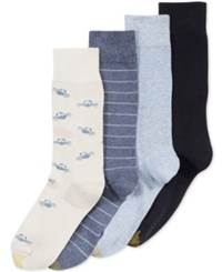 Gold Toe Men's Nautical Dress Socks 4 Pack Assorted Blue