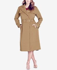 City Chic Trendy Plus Size Trench Coat Caramel