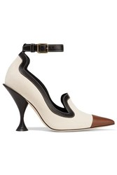 Burberry Leather Trimmed Canvas Pumps Beige