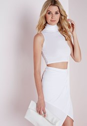 Missguided Sleeveless Turtle Neck Crop Top White