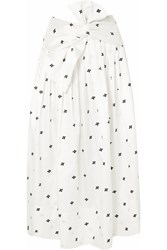 Ulla Johnson Aglae Bow Detailed Embroidered Taffeta Midi Skirt White