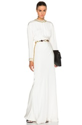 Alessandra Rich Drape Silk Dress With Embroidered Chain Collar In White