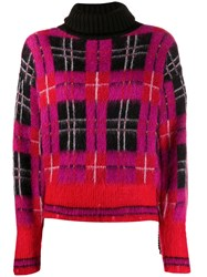 Frankie Morello Roll Neck Checked Pattern Sweater 60