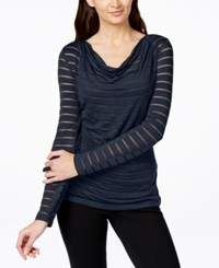 Inc International Concepts Draped Illusion Striped Top Only At Macy's Deep Twilight