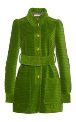 Philosophy Di Lorenzo Serafini Long Sleeve Belted Corduroy Jacket Green