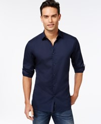 Alfani Men's Slim Fit Stretch Long Sleeve Shirt Neo Navy