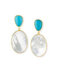 Dina Mackney Turquoise And Mother Of Pearl Double Drop Earrings