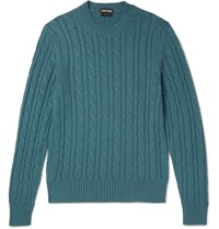 Tom Ford Cable Knit Cashmere Sweater Petrol