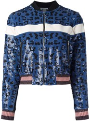 Aviu Sequined Animal Pattern Bomber Jacket Blue