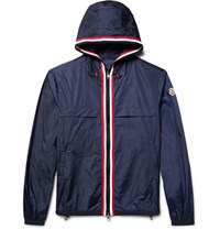 Moncler Anton Webbing Trimmed Nylon Hooded Jacket Navy