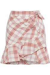 Veronica Beard Woman Kaia Embroidered Checked Cotton Blend Mini Skirt Multicolor