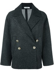 Versace Collection Flared Sleeves Shift Coat Grey