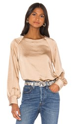 Line And Dot Satin Top In Tan. Toffee