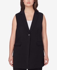 Tahari By Arthur S. Levine Asl Plus Size Long Blazer Vest Black