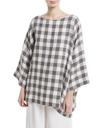 Eskandar 3 4 Sleeve Check Linen Blend Tunic Gray