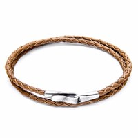 Anchor And Crew Light Brown Liverpool Silver Leather Bracelet