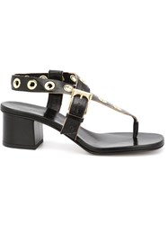 L'autre Chose Eyelet Detail Thong Sandals Black