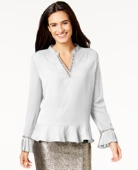Ny Collection Embellished Flounce Top