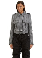 J.W.Anderson Cropped Houndstooth Jacket Black