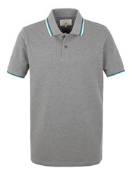 Racing Green Clement Tipped Pique Polo Grey