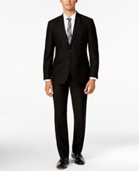 Kenneth Cole Reaction Men's Slim Fit Black Suit With Finished Pant Hem