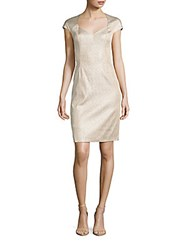Kay Unger V Neck Cap Sleeve Sheath Dress Gold