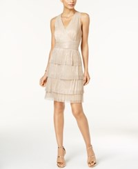 Connected Metallic Crinkle Tiered Halter Dress Champagne