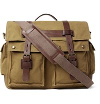 Belstaff Colonial Leather Trimmed Cotton Canvas Messenger Bag Green