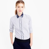 J.Crew Petite Perfect Shirt In Stripe With Sequin Collar