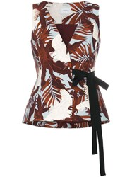 Erdem Floral Wrap Top With Ribbon Tie Blue