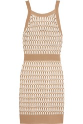 Missoni Crochet Knit Cotton Blend Dress Beige