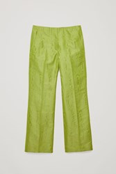 Cos Moire Pattern Woven Trousers Green