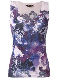 Roberto Cavalli Floral Print Tank Top Pink And Purple