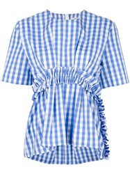Msgm Gingham Ruffle Blouse Blue