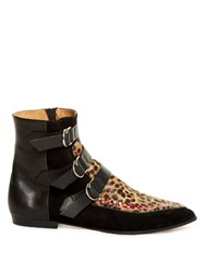 Isabel Marant Rowi Calf Hair Leather And Suede Ankle Boots Black Multi